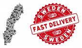 Delivery Collage Sweden Map And Corroded Stamp Watermark With Fast Delivery Badge. Sweden Map Collag poster