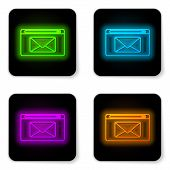 Glowing Neon Line Mail And E-mail Icon Isolated On White Background. Envelope Symbol E-mail. Email M poster