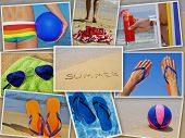 stock photo of nudism  - a collage of nine pictures of many beach items and scenes in the summer - JPG
