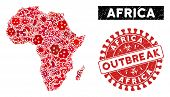 Biohazard Collage Africa Map And Red Corroded Stamp Seal With Outbreak Message. Africa Map Collage D poster