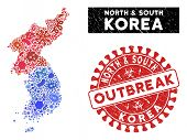 Virus Mosaic North And South Korea Map And Red Corroded Stamp Seal With Outbreak Message. North And  poster