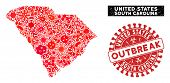 Infected Mosaic South Carolina State Map And Red Grunge Stamp Watermark With Outbreak Message. South poster