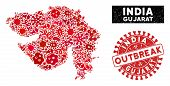 Viral Collage Gujarat State Map And Red Grunge Stamp Watermark With Outbreak Text. Gujarat State Map poster