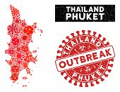 Contagious Collage Phuket Map And Red Corroded Stamp Watermark With Outbreak Phrase. Phuket Map Coll poster