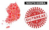 Viral Mosaic South Korea Map And Red Grunge Stamp Watermark With Outbreak Badge. South Korea Map Col poster