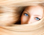 stock photo of hair streaks  - Blond Girl - JPG