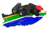 Travel And Photo, Video Shooting In South Africa. Digital Camera, Camcorder And Action Camera On Sou poster