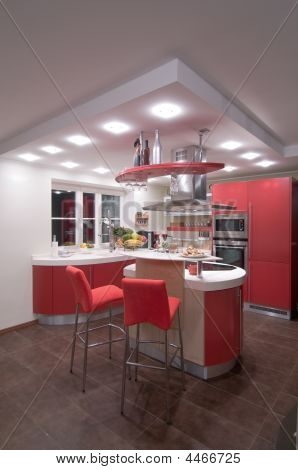 Постер, плакат: Красный современная кухня , холст на подрамнике