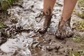 picture of wet feet  - Feet in mud close - JPG