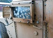 stock photo of humvee  - Improvised Explosive Device detonation on US Humvee in Afghanistan - JPG