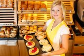 Bakery Shopkeeper With Cake Or Pastry