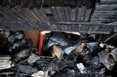 pic of morbid  - Burned books and furniture after a house fire - JPG