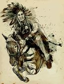 stock photo of mohawk  - Indian Chief riding a horse and jumping over a hurdle - JPG