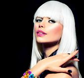 Fashion Vogue Style Model Portrait. Beauty Woman with White Hair and Black Nails. Disco Party Girl P