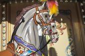 stock photo of carousel horse  - Carousel horses on the city children - JPG