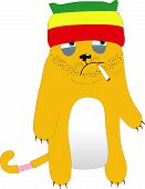 pic of rasta  - Antipathy Rasta cat with cigarette in mouth - JPG