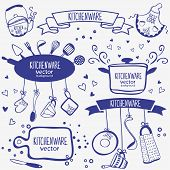 picture of monochromatic  - design silhouette of kitchenware doodles collection - JPG