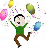 Cute Vector Boy celebrating happy balloons