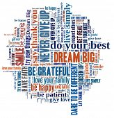 image of give thanks  - Dream Big and other positive words in word collage - JPG