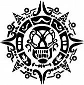 stock photo of rogue  - skull and talisman drawing by pastel on charcoal paper - JPG