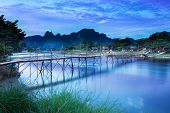 Country bridge across Nam Song river, Vang Vieng, Laos.