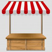 pic of awning  - store  window  with striped awning   - JPG