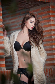 pic of playmate  - Beautiful brunette woman in black sensual lingerie posing provocatively in front of a brick wall - JPG