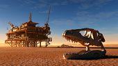 picture of dinosaur skeleton  - Dinosaur skeleton and the oil station in the desert - JPG