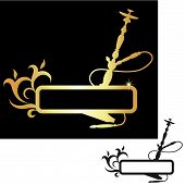 picture of shisha  - hookah black and gold - JPG