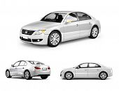 picture of three dimensional shape  - Three Dimensional Image of White Car - JPG