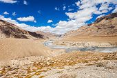 image of manali-leh road  - Himalayas landscape road between Manali and Leh India - JPG