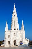 stock photo of santhome  - Catholic Church in KanyakumariTamil Nadu Southern India - JPG