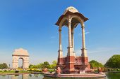 stock photo of india gate  - India Gate and war memorial in New Delhi India - JPG