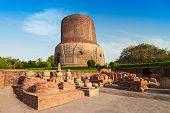image of gautama buddha  - Dhamekh Stupa and ruins in Sarnath India - JPG