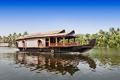 picture of alleppey  - Beauty boat in the backwaters Kerala India - JPG