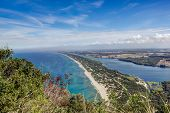 pic of promontory  - View of coastal sand strip and Lake Paola from the limestone cliffs of the Mount Circeo Lazio Italy - JPG