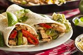 pic of sandwich wrap  - Homemade Chicken Fajitas with Vegetables and Tortillas - JPG