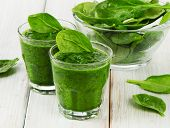 stock photo of smoothies  - Healthy green smoothie with spinach - JPG