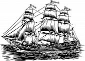 image of sailing-ship  - vector illustration of three masted tall sailing ship - JPG