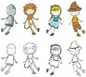 stock photo of wizard  - Cute sketchy characters from the Wizard of Oz - JPG