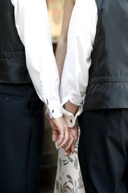 stock photo of gay wedding  - This image shows two men holding hand displaying their wedding rings.