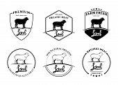 image of lamb  - Vector vintage lamb labels - JPG