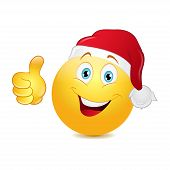 picture of emoticon  - Christmas emoticon with thumb up on a white background - JPG