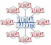 picture of niche  - Vertical Markets 3d words on grid to illustrate specific sets of businesses in similar markets or niche industries - JPG