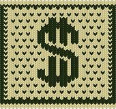 foto of bartering  - Knitted dollar green beige scheme vector - JPG