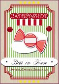 image of candy  - Vintage candy shop poster with candy and lollipops on a retro background - JPG
