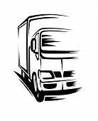 picture of moving van  - Delivery truck moving on road for transportation concepts - JPG