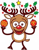picture of enthusiastic  - Enthusiastic brown reindeer with big antlers - JPG