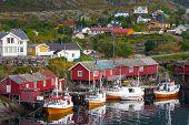 stock photo of lofoten  - red wooden house at the Lofoten archipelago norway - JPG