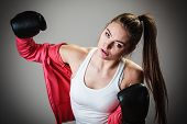 stock photo of martial arts girl  - Martial arts or self defence concept - JPG